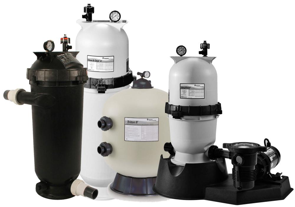 Various swimming pool filters manufactured by Pentair