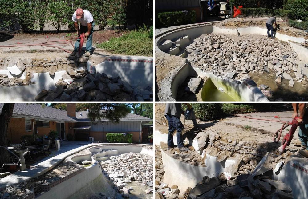 Demolition team deconstructing pool shell