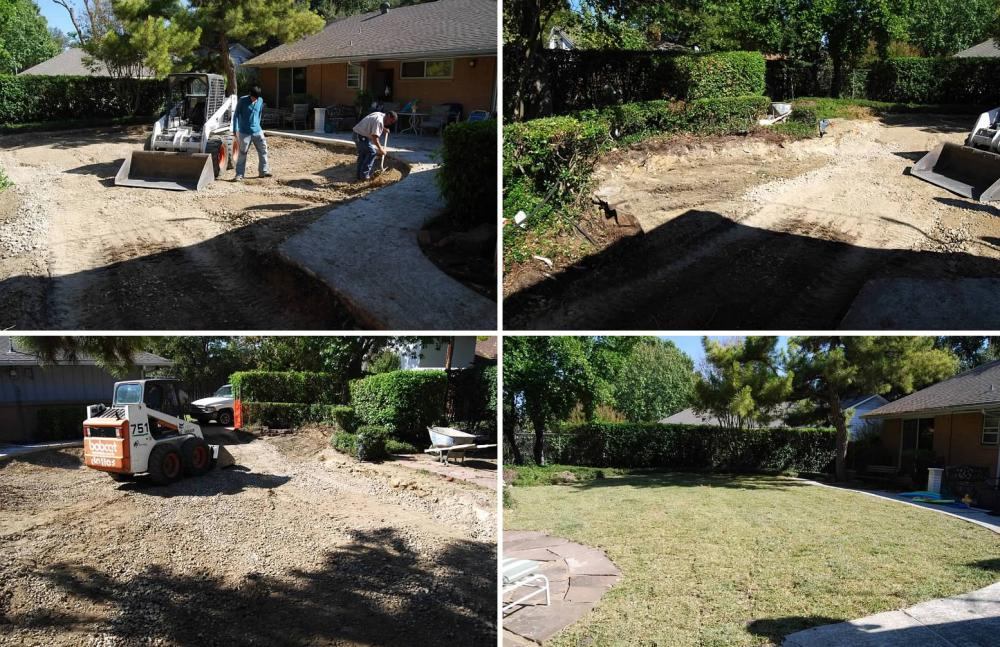 Backfilling pool area and covering it with dirt and re-sod
