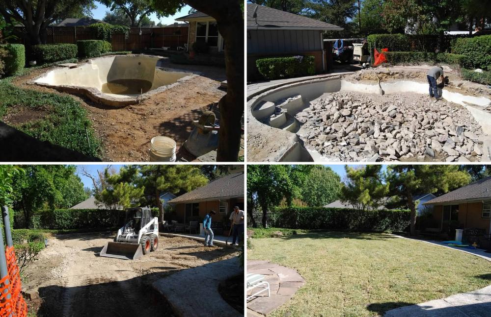 The different stages of pool demolition and filling