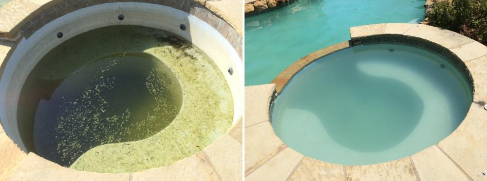 Green whirlpool before and after rehabilitation