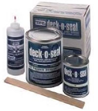 boxes, jars, and tubes of deck-o-seal product
