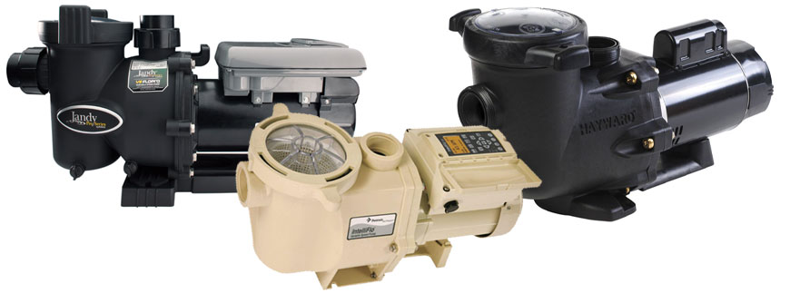 Various swimming pool booster sweep pumps manufactured by Jandy, Pentair, and Hayward