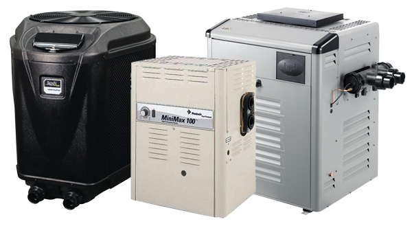 Various swimming pool heaters and heat pumps manufactured by Jandy and Pentair