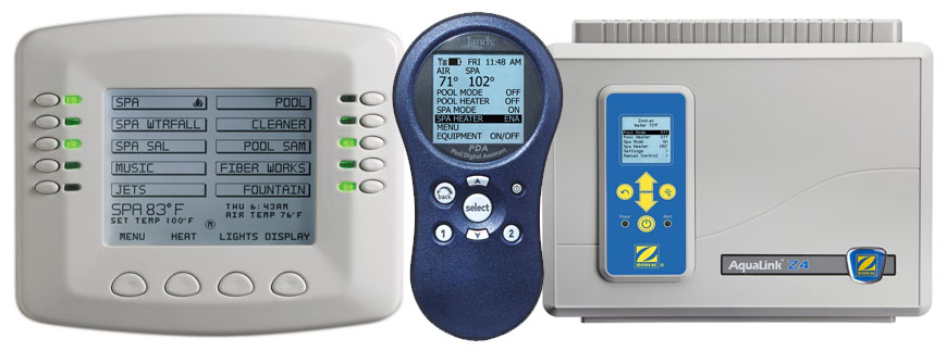 Various swimming pool system computers and automation devices manufactured by Jandy, Pentair, and Zodiac