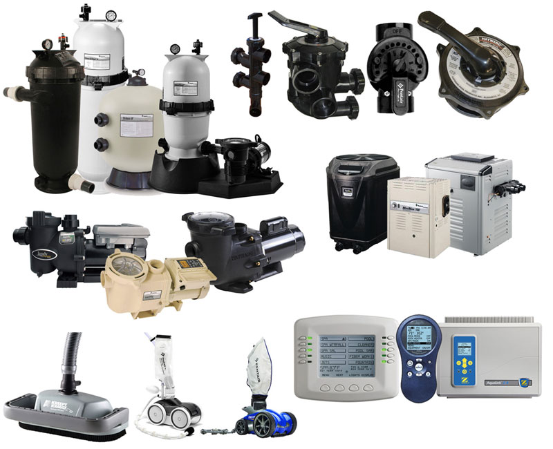 Various types of swimming pool equipment, parts, and machinery manufactured by Pentair, Hayward and Jandy