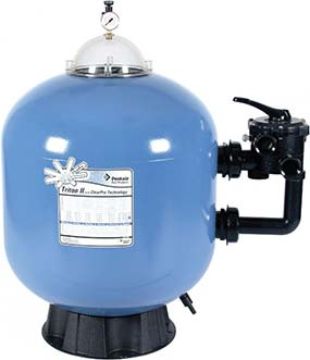 Side-mounted swimming pool filter manufactured by Pentair